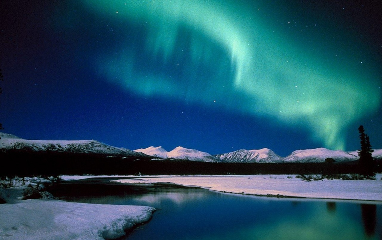 Aurora Mountains Snow & Sea wallpapers