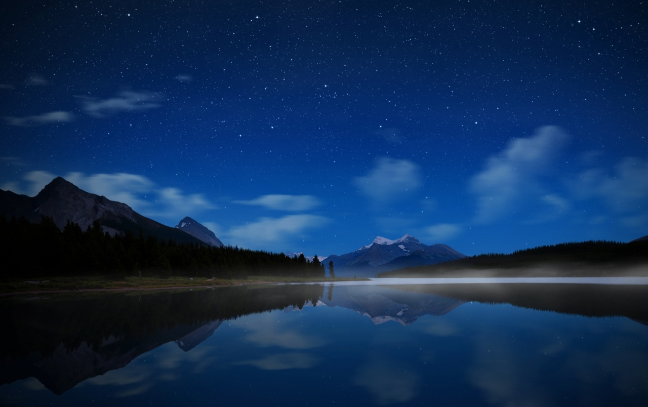 Mountain Night Stars Trees Sea Wallpapers And Stock Photos