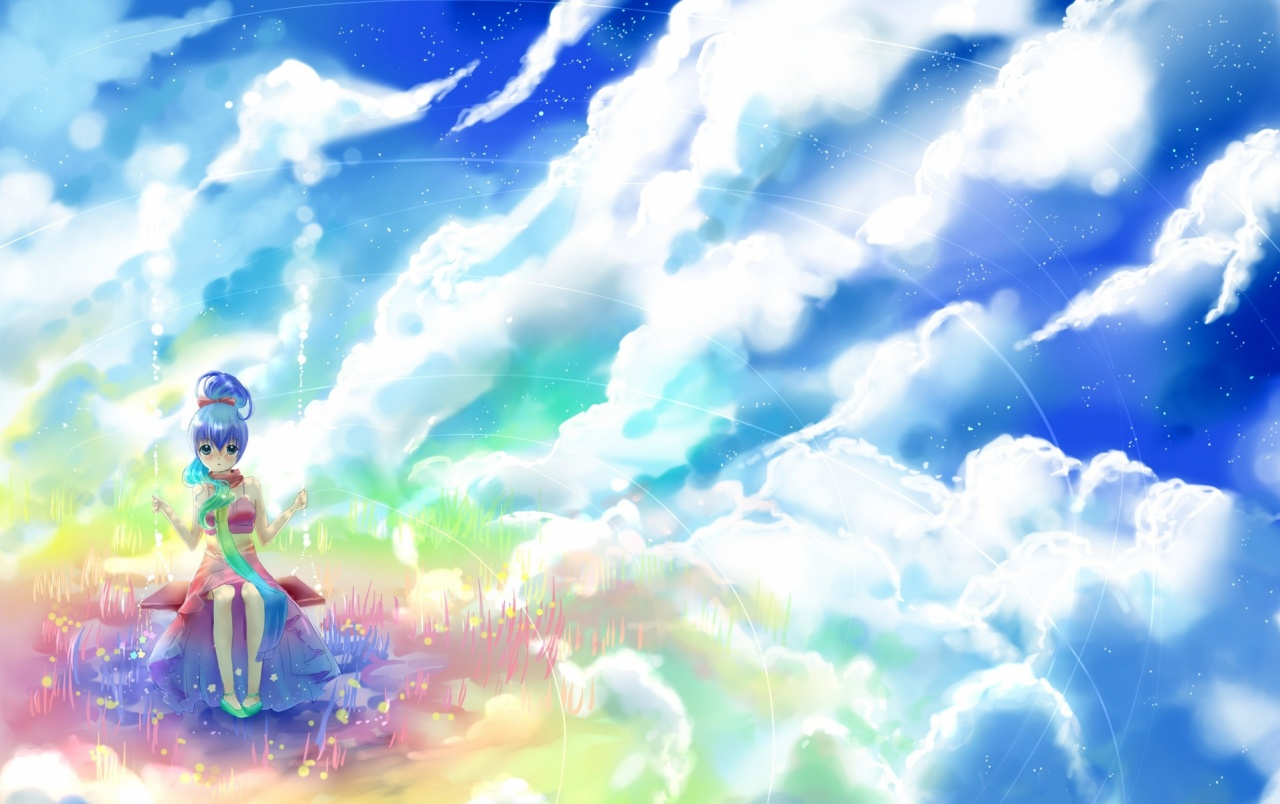 Anime Girl Rock Clouds Sky Wallpapers Anime Girl Rock Clouds