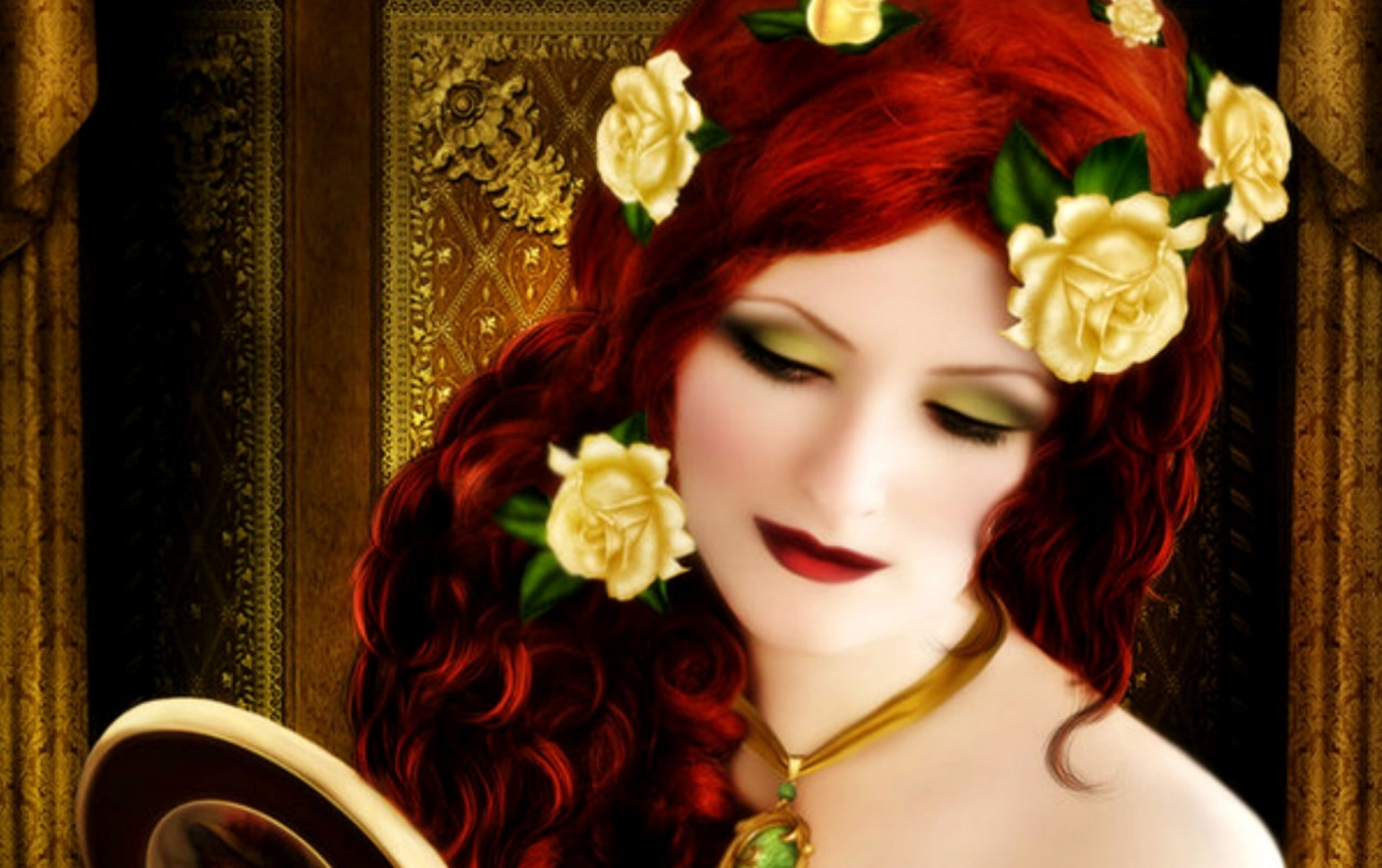 Woman Red Hair With Roses wallpapers