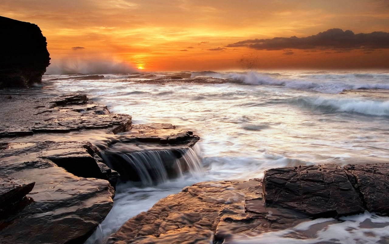 Ocean Sunset Rocks Waterfall wallpapers
