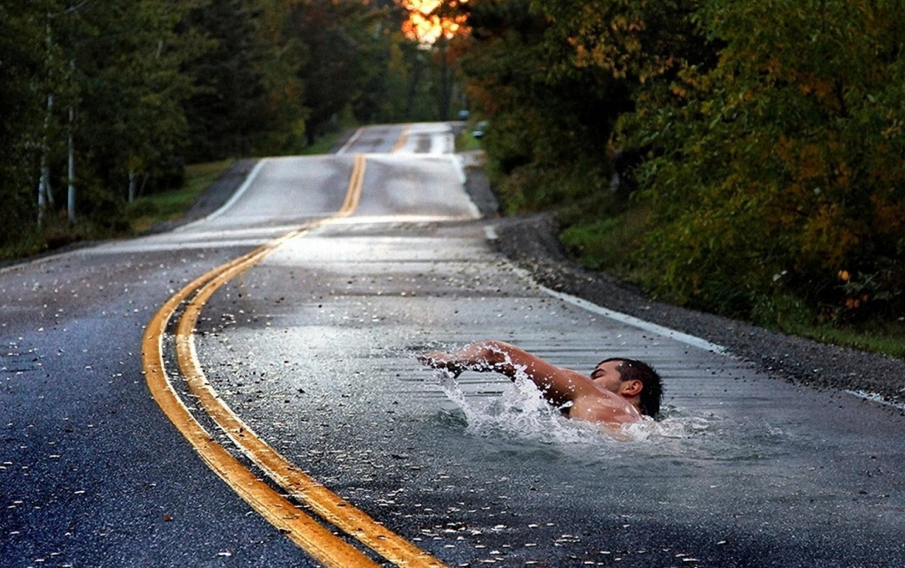 People Swimming Road Fantasy wallpapers