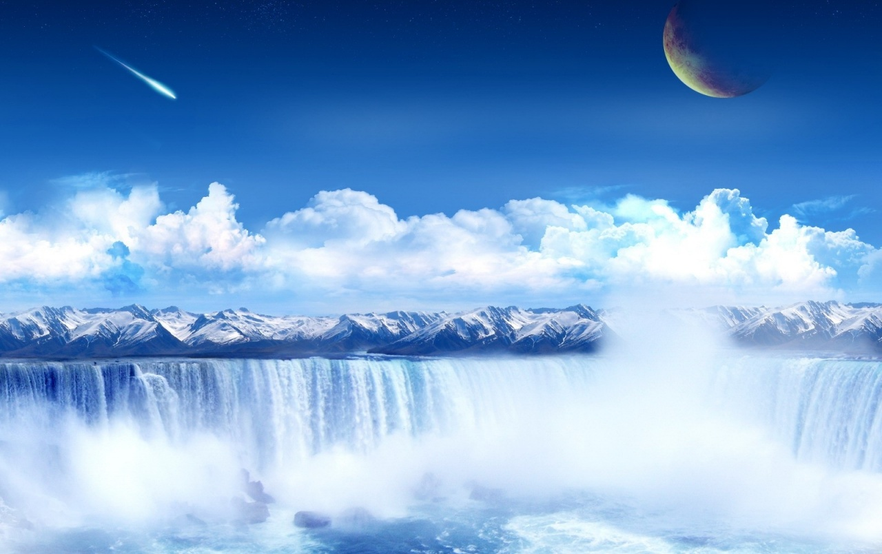 Clear Waterfall Planet Sky wallpapers
