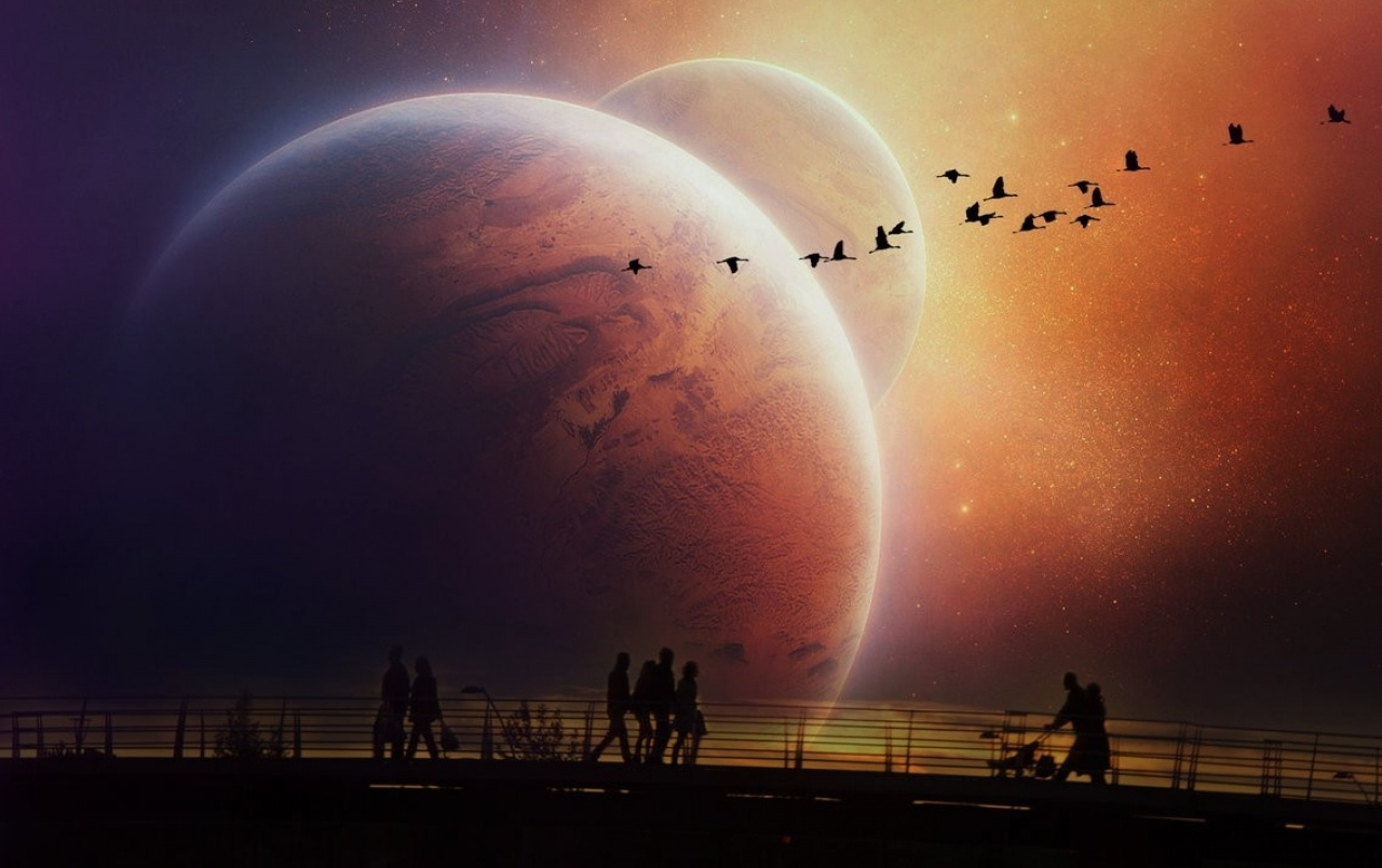 People Walking Evening Planets wallpapers