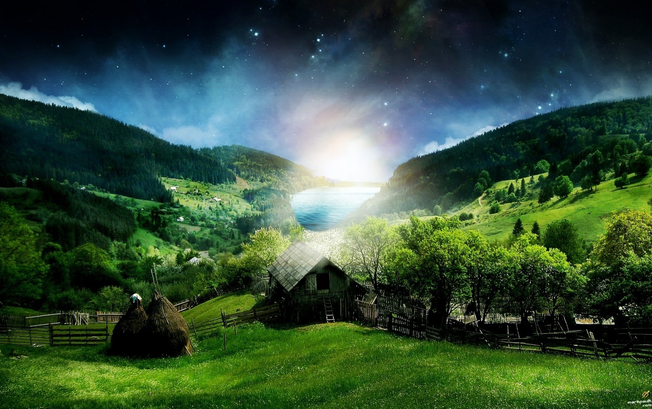 Peaceful Village Night Stars wallpapers