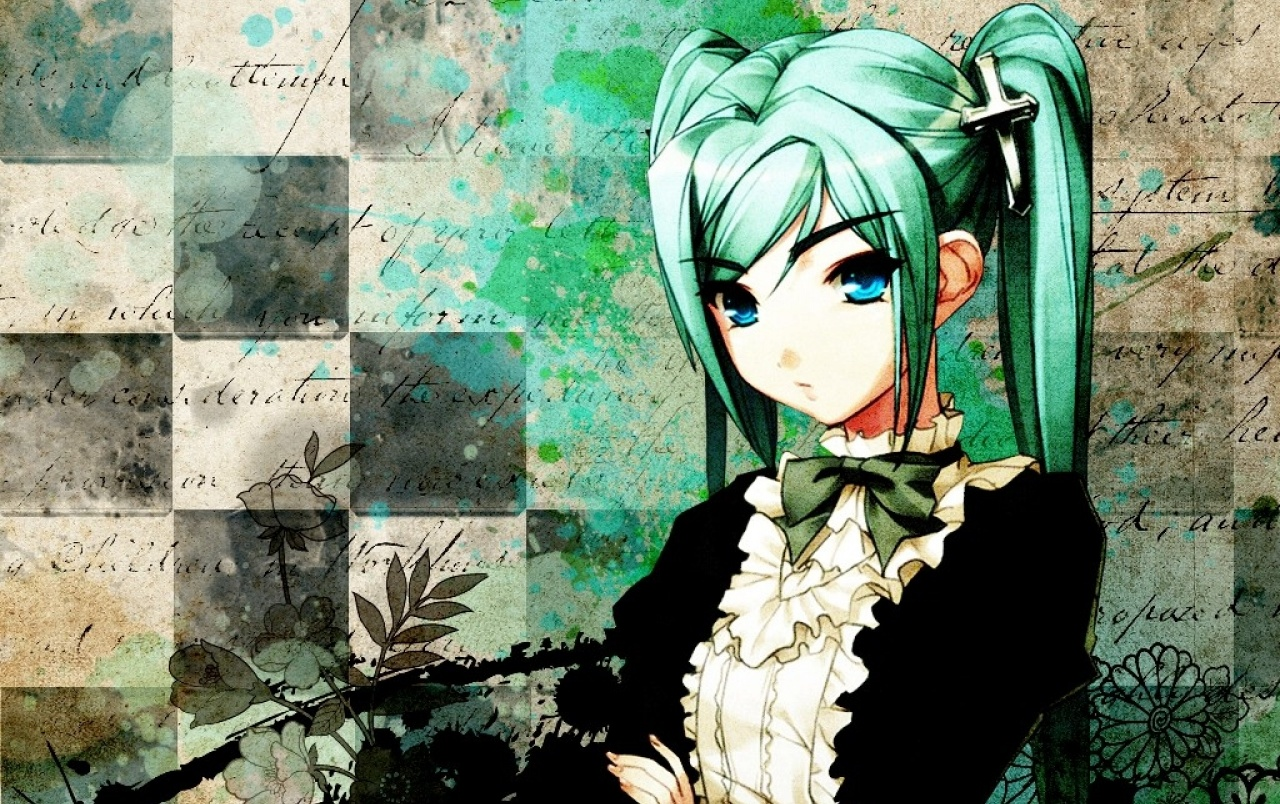 Anime Girl Green Cross Hair wallpapers
