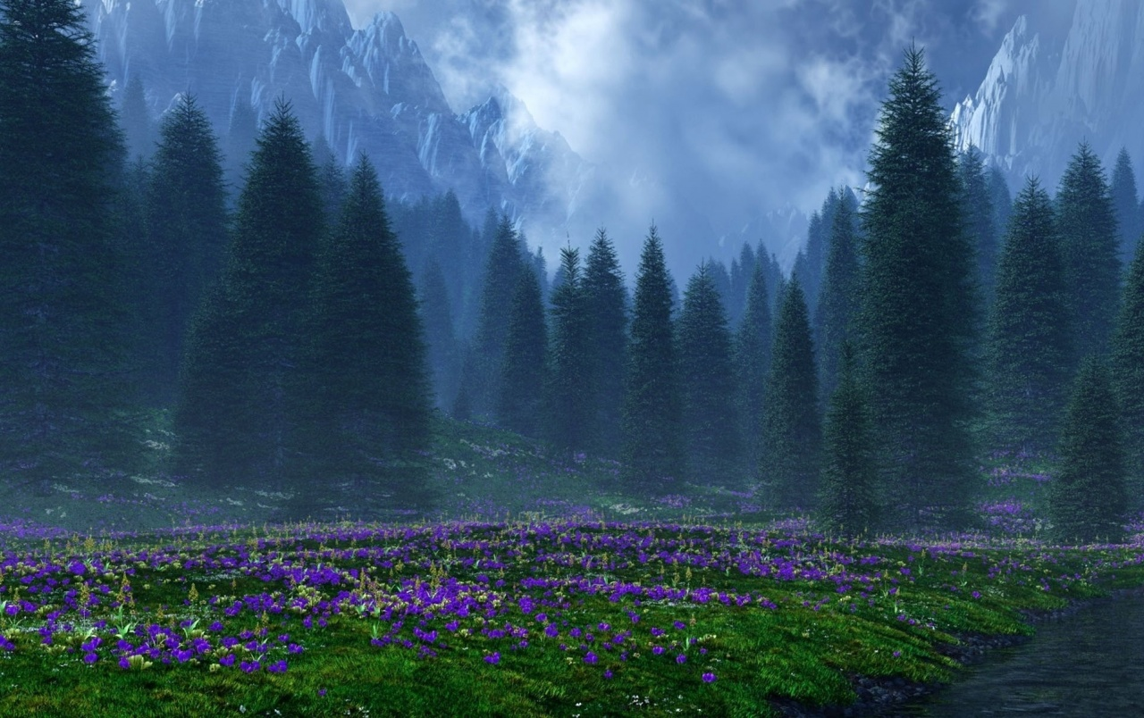 Mountains Trees Purple Flowers wallpapers