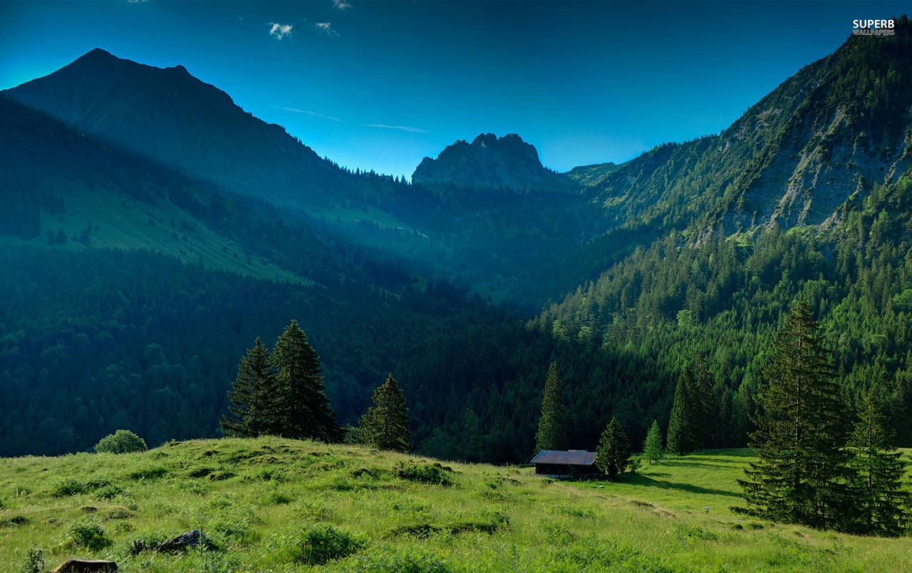 Cabin Nice Mountains & Grass Wallpapers