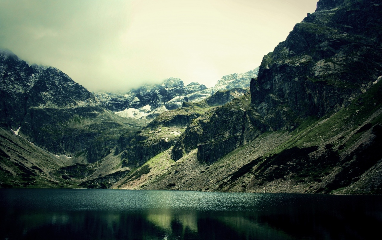 Mountains & Gleaming Lake wallpapers
