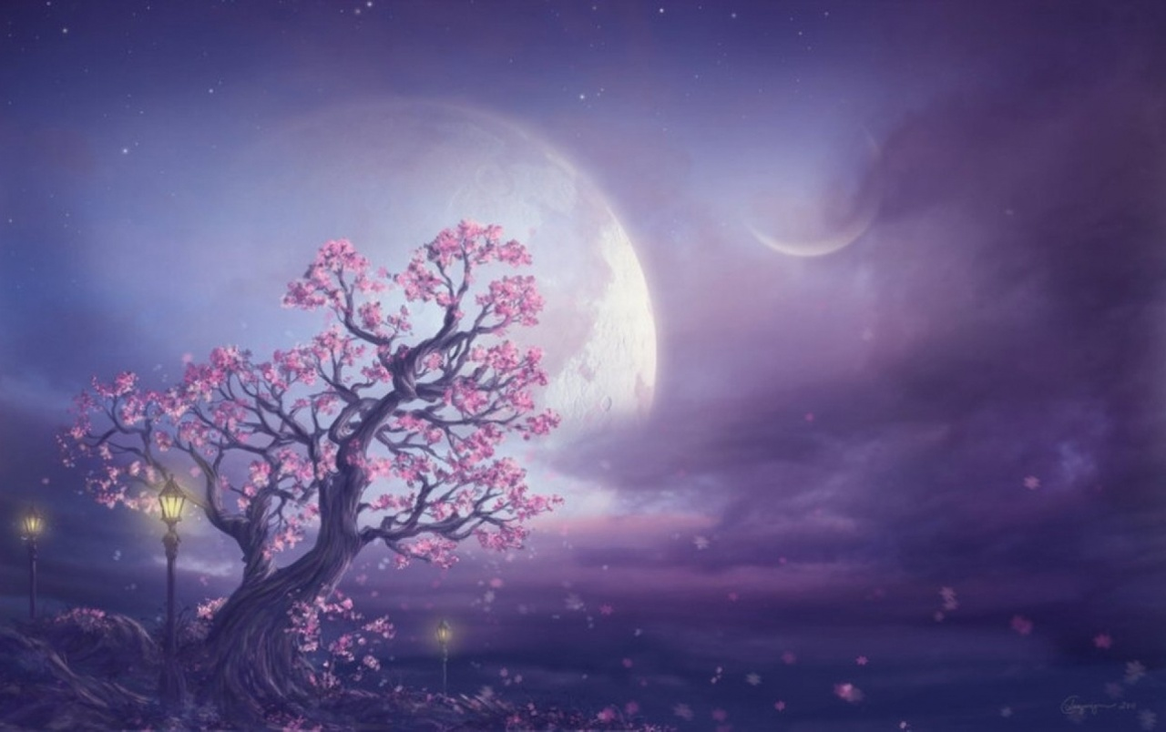 Pink Tree Moon & Purple Sky wallpapers | Pink Tree Moon & Purple Sky stock  photos