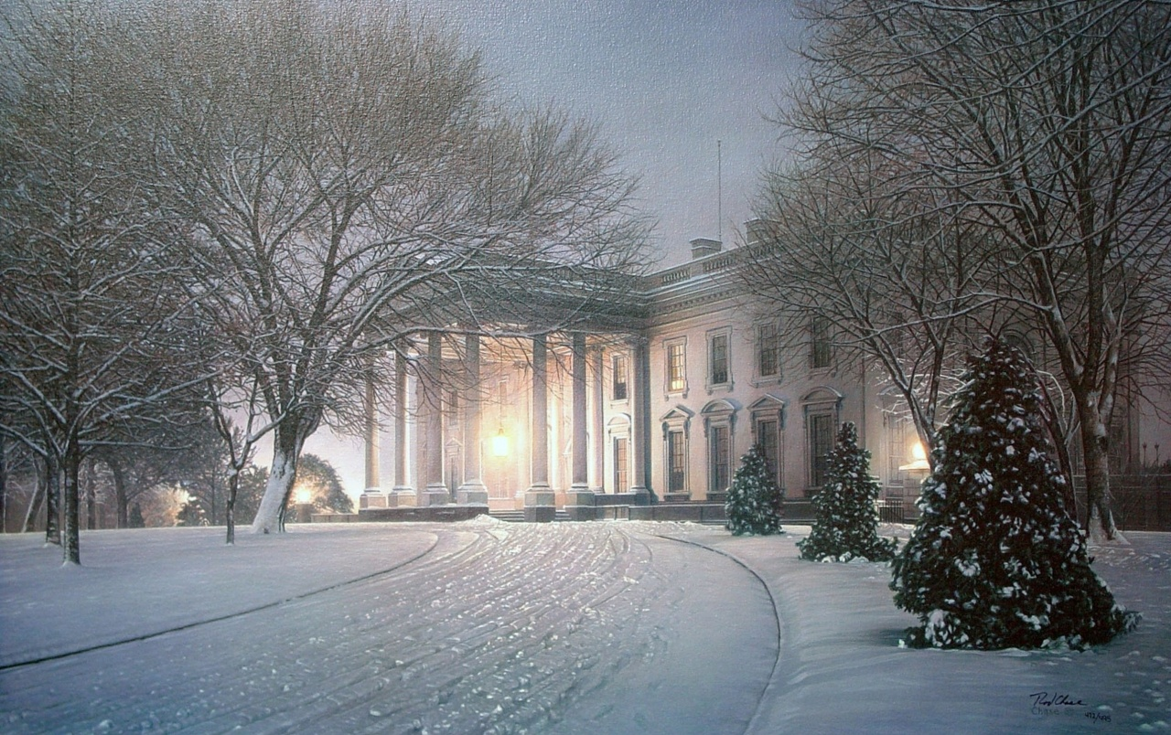 Mansion Snow Trees Street wallpapers