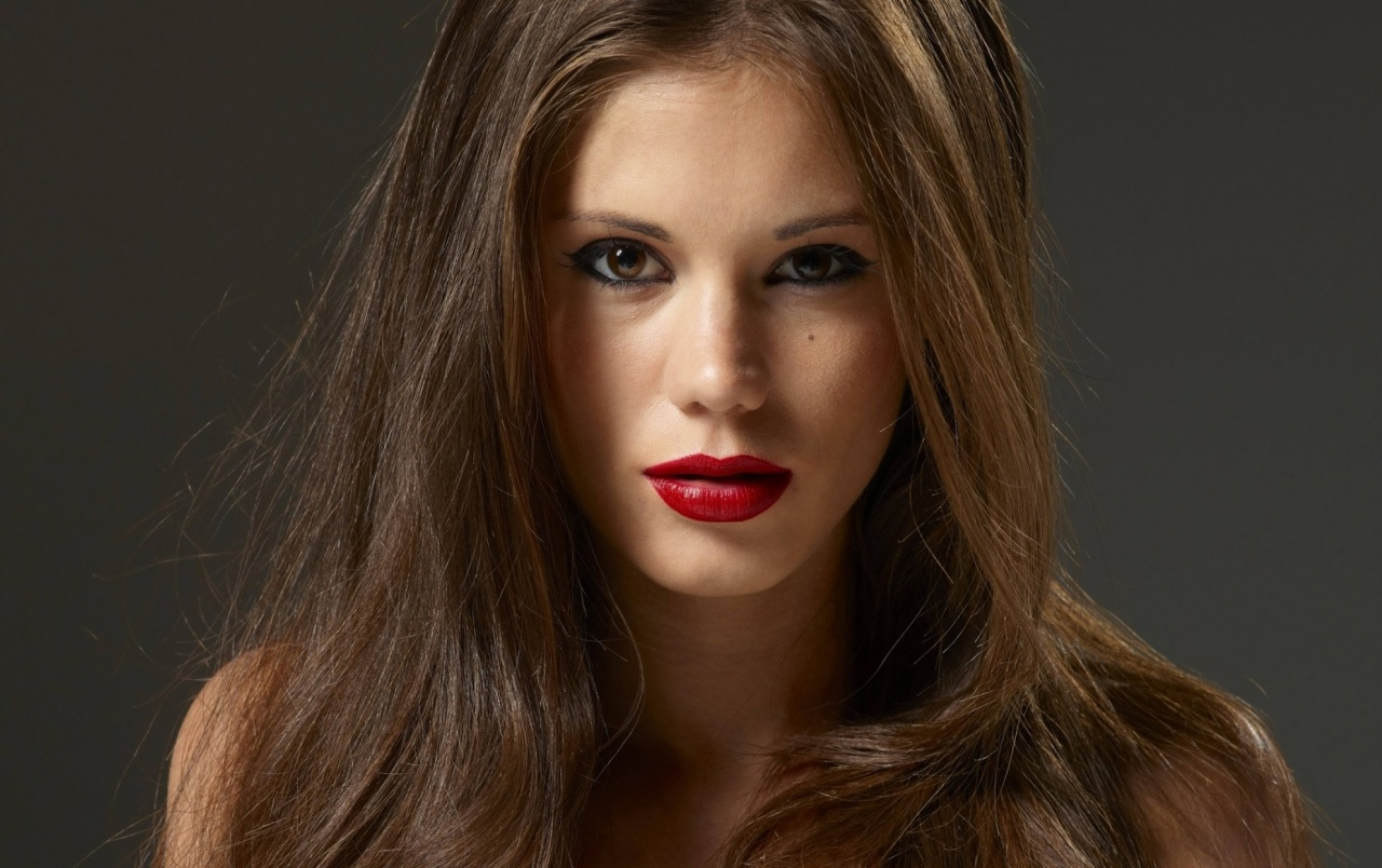Hot Brunette with Red Lips wallpapers