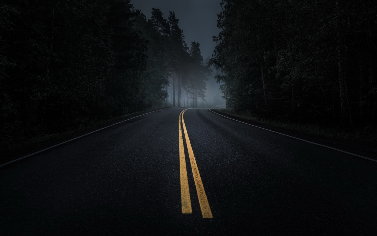 OriginalWide Dark Road Forest Night Mood Wallpapers