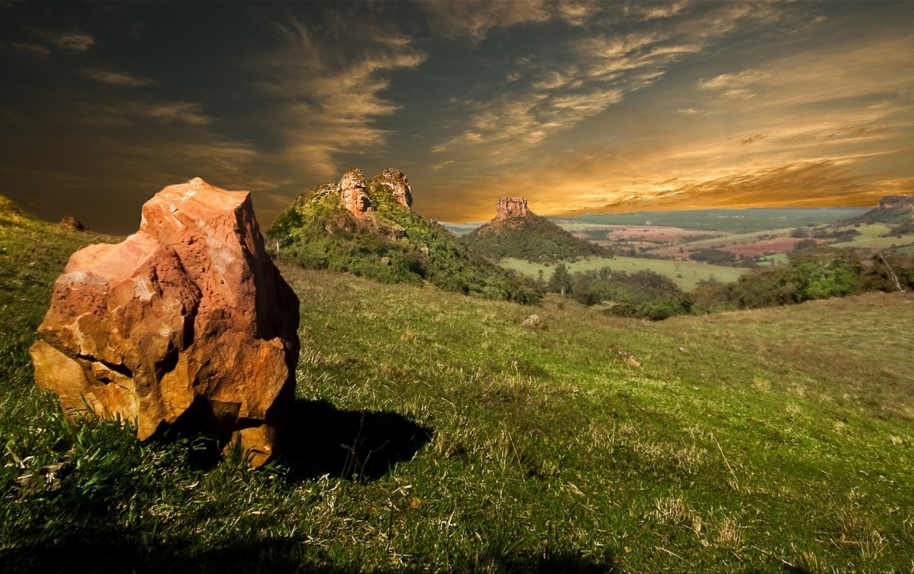 Hills Rocks Fields Sky Grass Wallpapers S