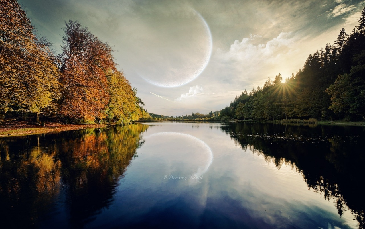 Planet Trees Sun Dreamy River wallpapers