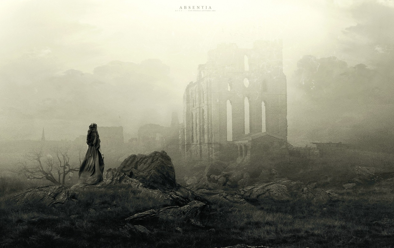 Ruins Darkness Fog Scenic Girl wallpapers