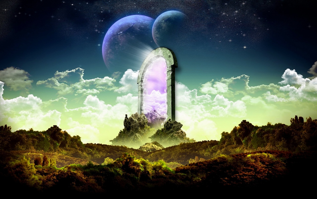 Fantasy Gate Planets Clouds wallpapers