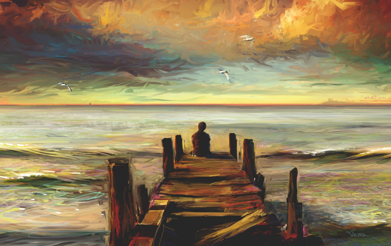 Originalhd jetty people ocean painting wallpapers
