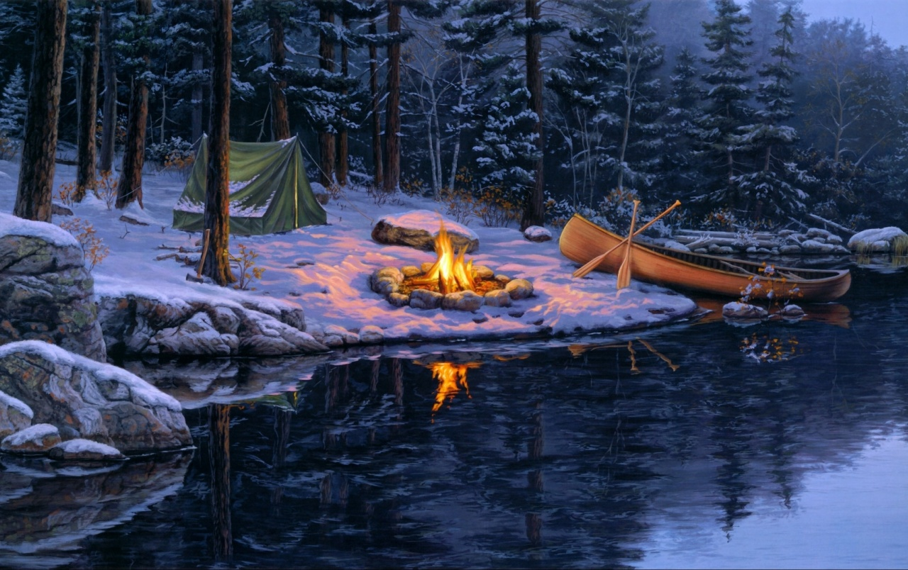 Campfire Winter Forest Lake wallpapers | Campfire Winter ... Camping Forest Wallpaper