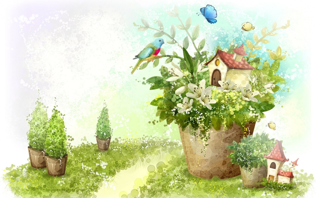 Flower Pots Bird House wallpapers | Flower Pots Bird House ...