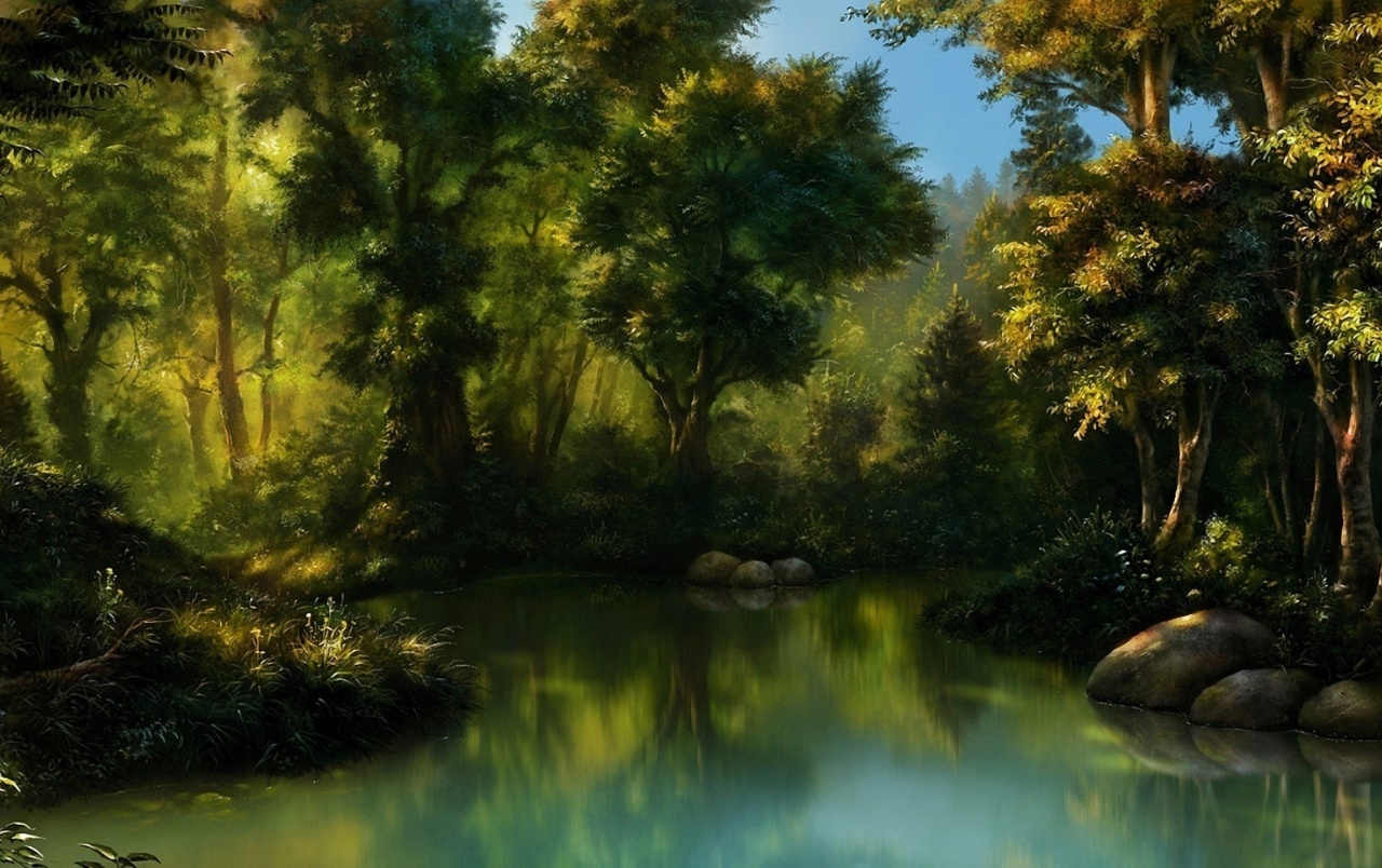 Painting Forest Amp Pond Wallpapers Painting Forest Amp Pond