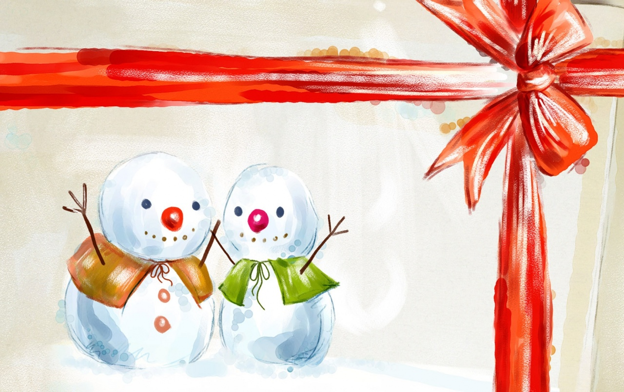 Happy Snowmen Illustration wallpapers