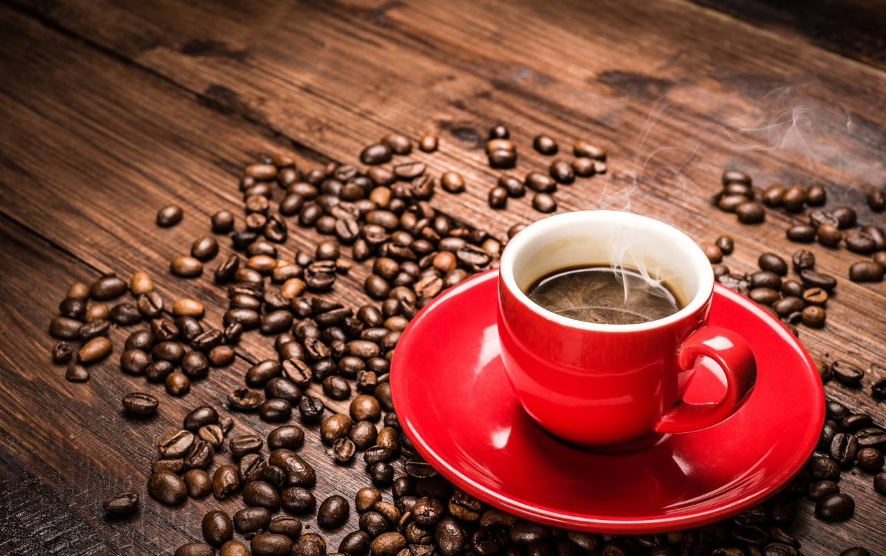 Hd Red Coffee Cup And Beans Wallpapers