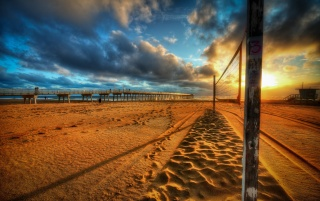 Beach Pier Sea Sunset wallpapers