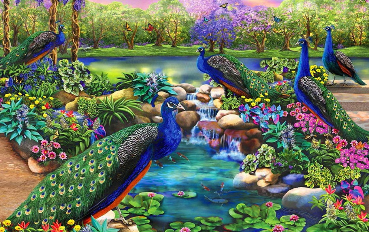 OriginalWide Peacocks Fantasy Garden Wallpapers