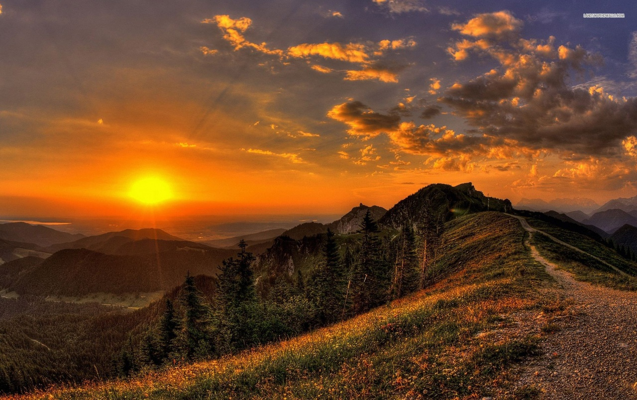 Golden Sunset Mountains Path Wallpapers Golden Sunset Mountains