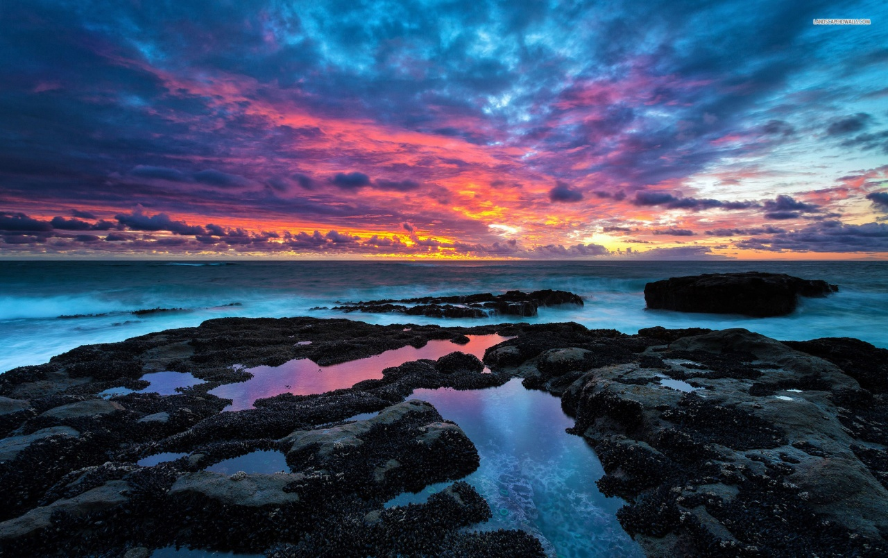 Ocean black rocks pink sky wallpapers ocean black - Ocean pictures for desktop background ...