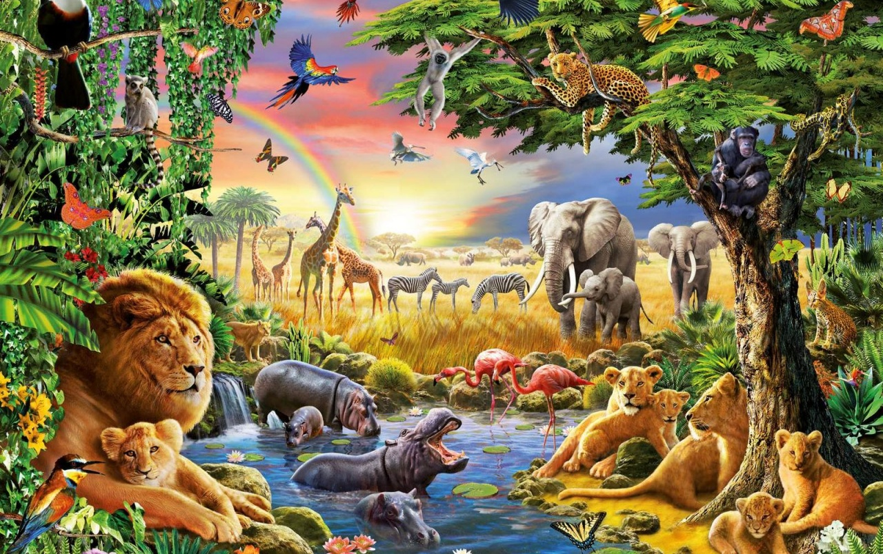 Jungle animals four wallpapers jungle animals four stock for Markise balkon mit afrika tapete