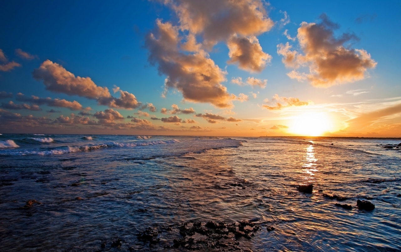Ocean waves rocks sunset cloud wallpapers ocean waves - Ocean pictures for desktop background ...