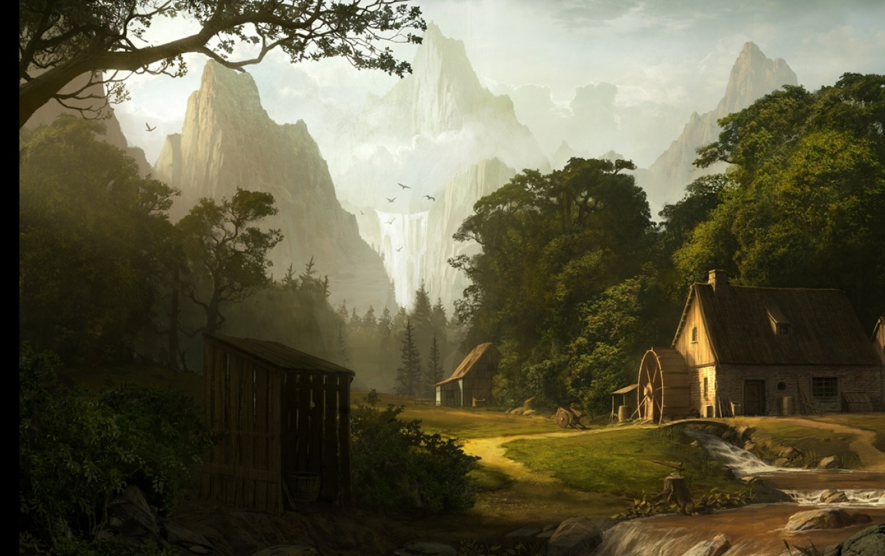 Houses Mill & Scenery Artwork wallpapers