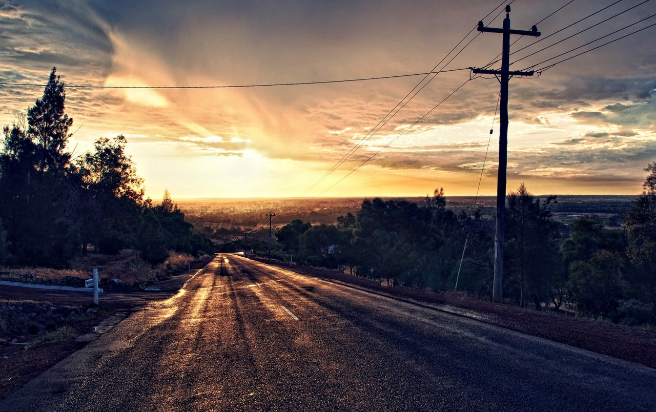 OriginalHD Dark Road Scenery Pole Sunset Wallpapers