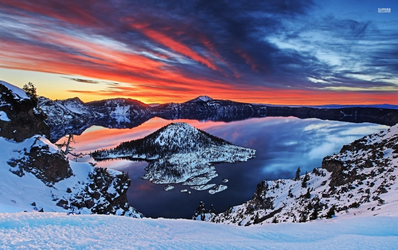 crater lake oregon sunset snow wallpapers | crater lake oregon