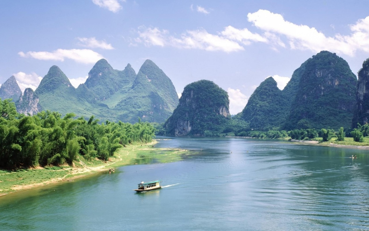 Mountains Wide River Boat wallpapers