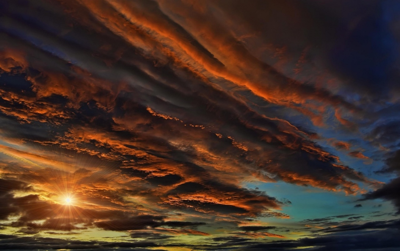amazing colorful sky sun rays wallpapers