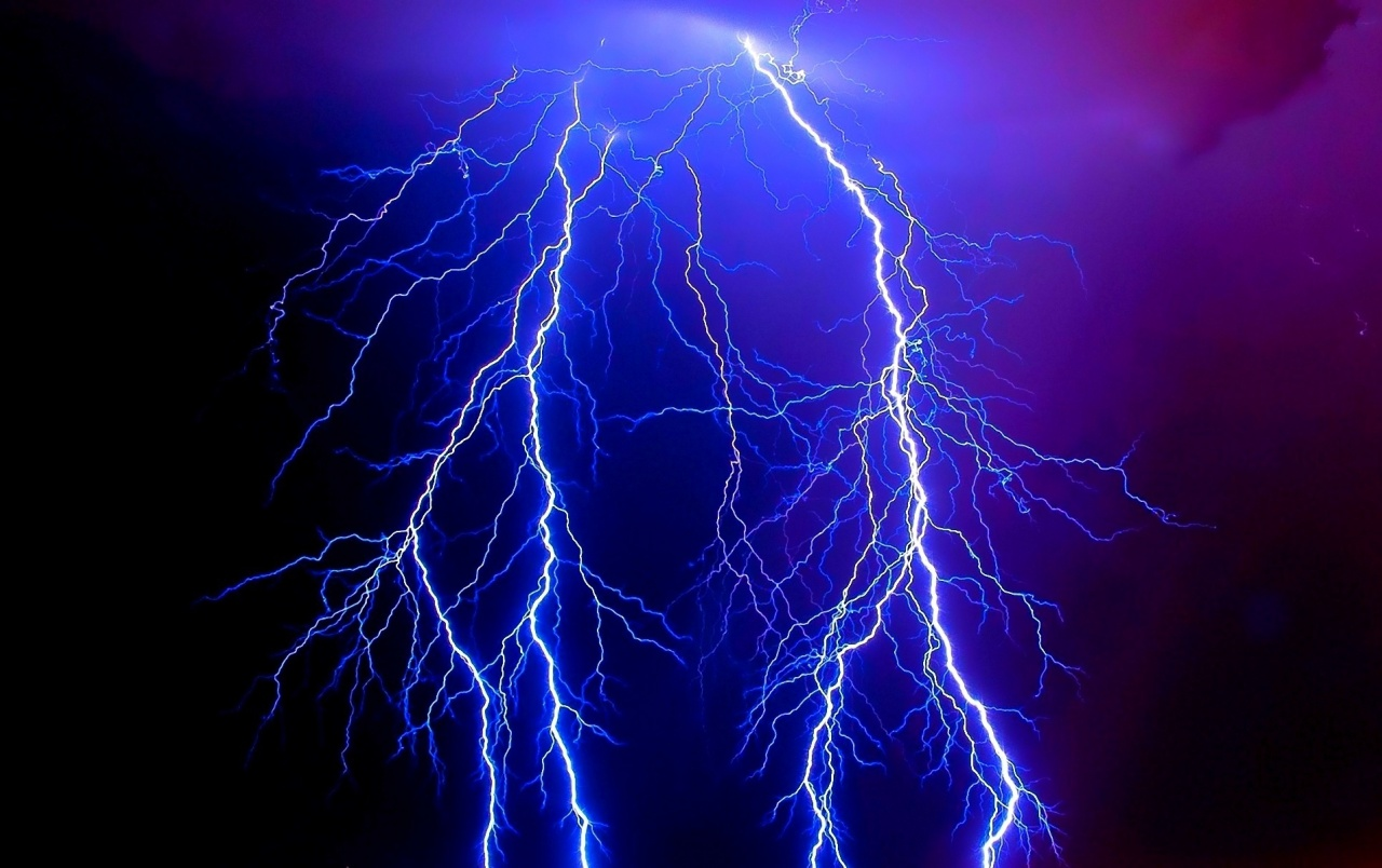 OriginalWide Lightning Blue Thunder Storm Wallpapers