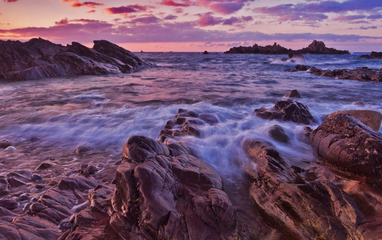 Wild Ocean Rocks Pink Sky wallpapers