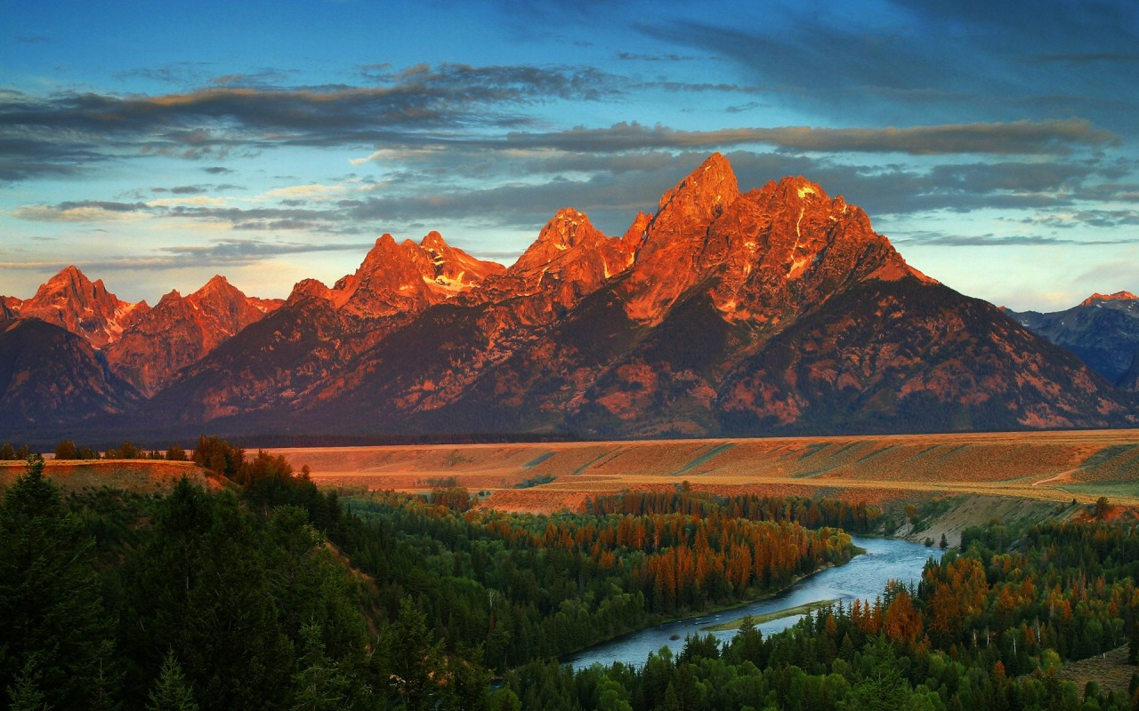 Red Peaks River Forest Wyoming wallpapers