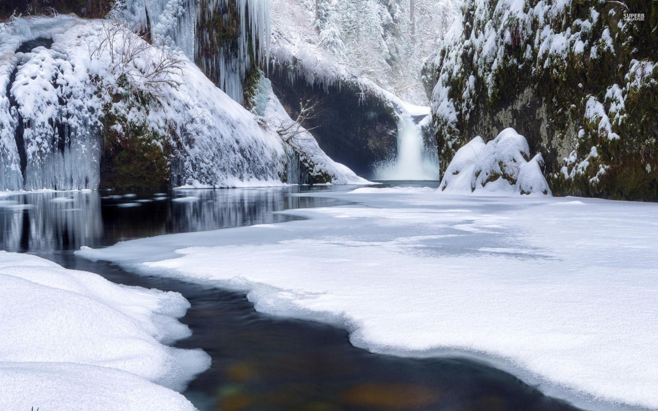 Waterfall River Snowy Forest Wallpapers Waterfall River