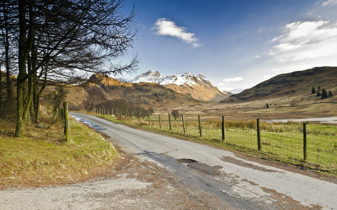 Road Peaks Fork Trees Fence wallpapers