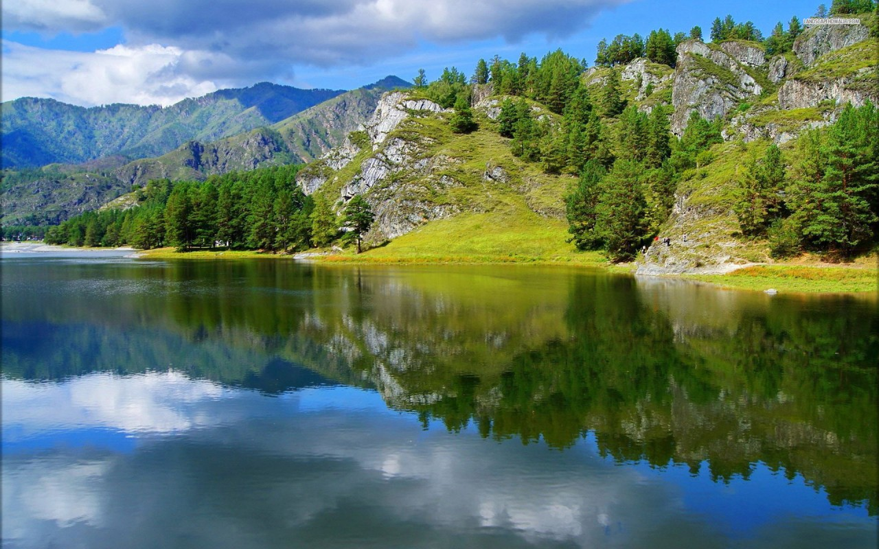 Hills Pretty Trees Lake Mirror wallpapers