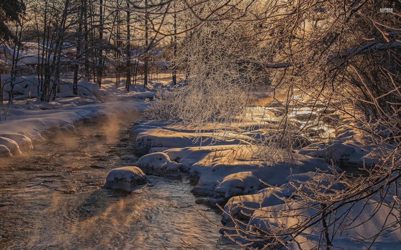 Snowy Rocks Branches River wallpapers