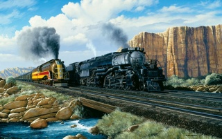 Mountains Trains Creek Nature wallpapers