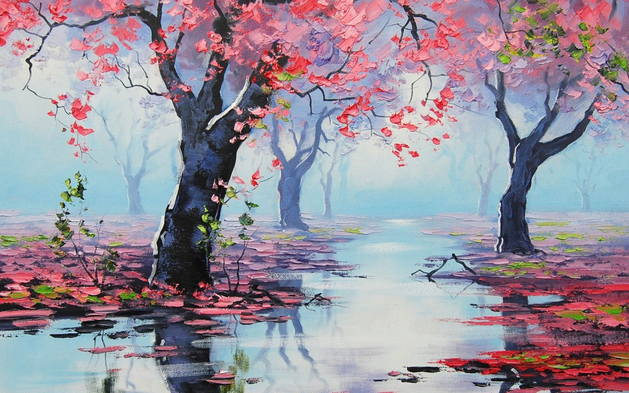 Red trees clear water leaves wallpapers red trees clear for Paesaggi marini dipinti