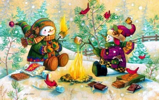Snowmen Marshmellow Barbecue wallpapers