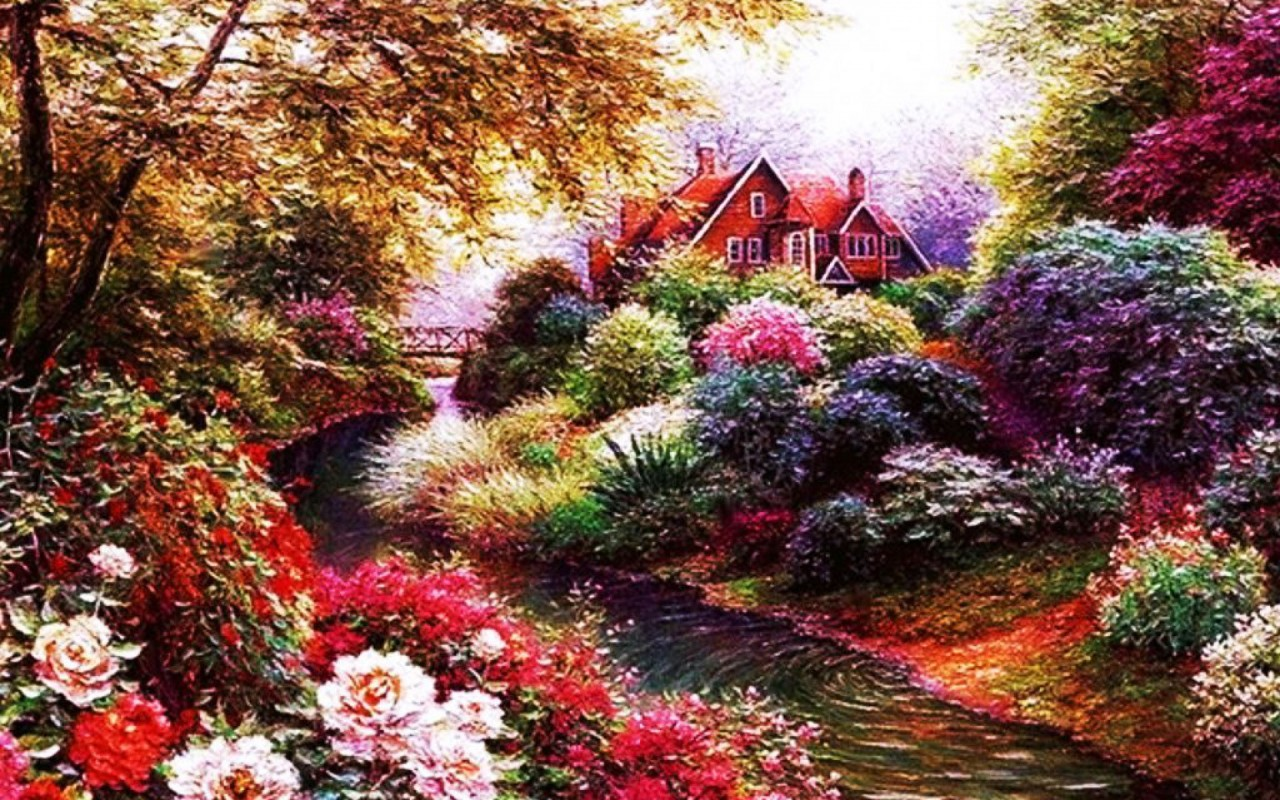 Beautiful flowers creek house wallpapers beautiful flowers creek originalwide beautiful flowers creek house wallpapers izmirmasajfo