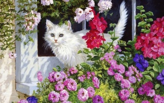 White Kitty & Pink Flowers wallpapers